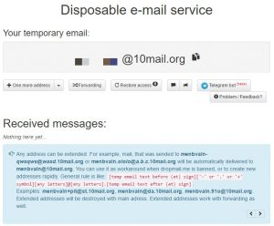 Disposable e-mail service